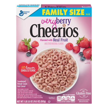 (2 Pack) Very Berry Cheerios, Gluten Free, Cereal, Family Size, 19.5 oz Box ()