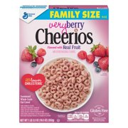 (2 Pack) Very Berry Cheerios, Gluten Free, Cereal, Family Size, 19.5 oz Box