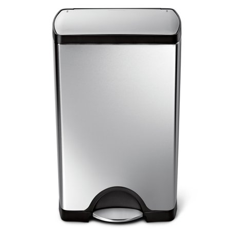 simplehuman 38 litre / 10 gallon rectangular step trash can fingerprint-proof stainless steel ()