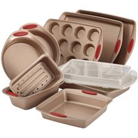 Rachael Ray Cucina Nonstick Bakeware 10 pc Set, Brown with Red Handles