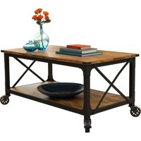 """Better Homes & Gardens Rustic Country Coffee Table for TVs up to 42"""", Antiqued Black/Pine Finish"""