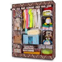 Zimtown New 4-Layer Portable Closet Storage Organizer Wardrobe Clothes Rack With Shelves