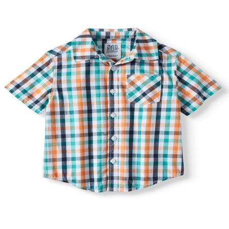 Short Sleeve Plaid Button Down Shirt (Little Boys & Big - Plaid Big Shirt