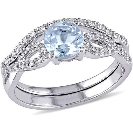 3/4 Carat T.G.W. Aquamarine and 1/6 Carat T.W. Diamond 10kt White Gold Infinity Design Bridal -