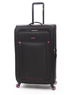 """iFLY Soft Sided Luggage Glamour 28"""", Black/Pink"""
