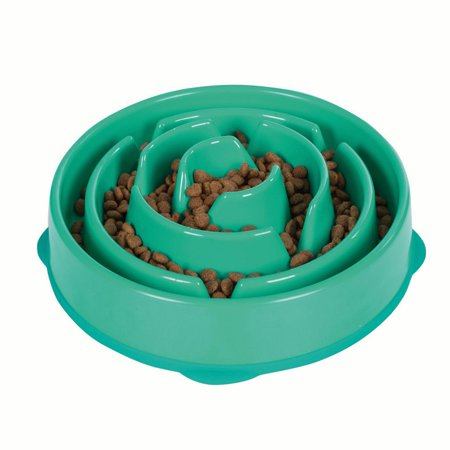 Slow Feeder Dog Bowl Fun Feeder Stop Bloat Bowl for Dogs by Outward Hound, Large, Blue