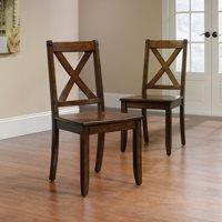 Sauder Carson Forge X Back Chairs, 2 Pack, Mahogany Finish