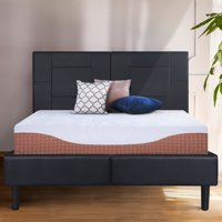 "GranRest 14"" Dura Metal Faux Leather Platform Bed Frame, Full Size"