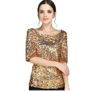 ac727ffd0ab New Sequin Womens Lady Sparkle Glitter Tank 3/4 Sleeve Coctail Party Top T-