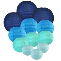 Just Artifacts Decorative Round Chinese Paper Lanterns, Assorted Sizes, Blues, 12pcs