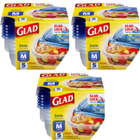 (3 Pack) Glad Food Storage Containers - Entree Container - 25 oz - 5 Containers