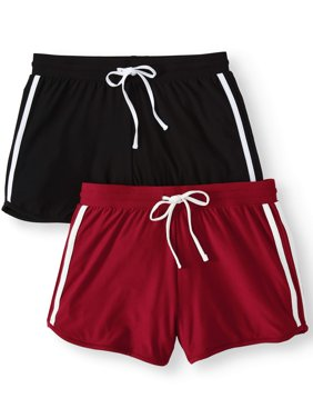 Juniors' Basic Knit Shorts with Tie-Front 2-Pack Value Bundle