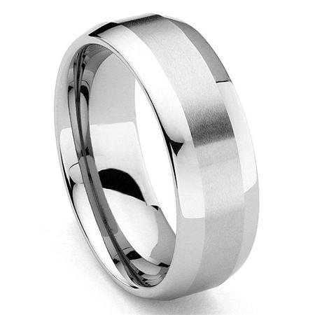 8MM Tungsten Carbide Dome Wedding Band Ring w/ Brushed Center Sz 10.0