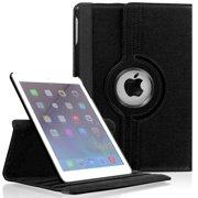 iPad Mini 4 PU Leather Case by KIQ 360 Rotating Swivel Cover Multi-View Stand (Black)