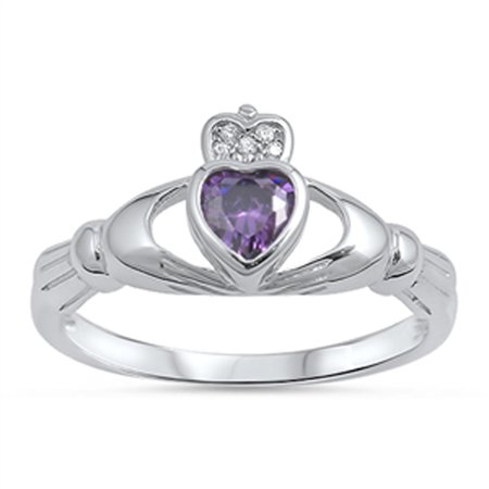 CHOOSE YOUR COLOR Claddagh Heart Simulated Amethyst Promise Ring New .925 Sterling Silver Band