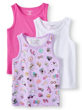Solid and Printed Tank Tops, 3pc Multi-Pack (Toddler Girls)