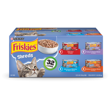 Friskies Gravy Wet Cat Food Variety Pack, Savory Shreds - (32) 5.5 oz. (Best Rated Canned Cat Food)
