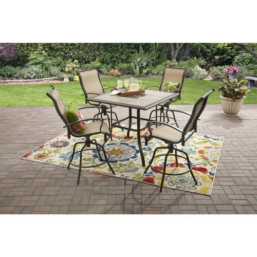 Mainstays Wesley Creek 5-Piece Counter Height Dining Set Tan  sc 1 st  Walmart & Bar Height Patio Sets