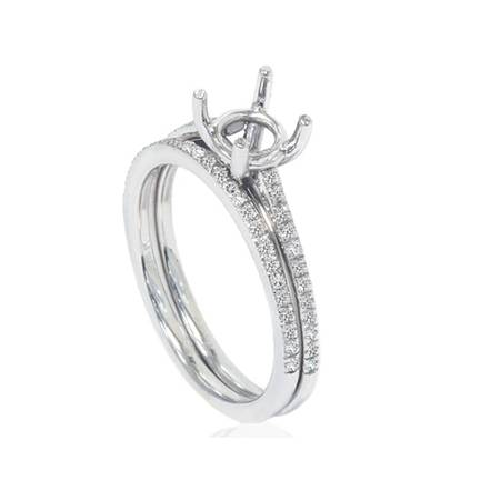 1/5ct Pave Cathedral Diamond Engagement Ring Setting 14K White Gold (14k Pave Diamond Ring Setting)