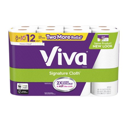 Viva Signature Cloth Paper Towels, Choose-A-Sheet, 8 Big - Household Roll Towels