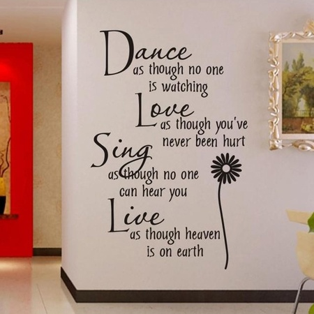 Outgeek Dance Love Sing Live Wall Sticker Letter Quotes Decals Removable Stickers Decor Vinyl Art Stickers for Living Room Bedroom