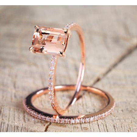 1.50 carat Morganite and Diamond Halo Bridal Wedding Ring Set in Rose Gold: Bestselling Design Under Dollar