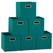 Household Essentials Open Fabric Storage Cube Bins, Set of 6, Aqua