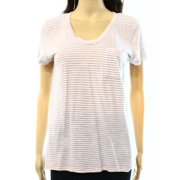 88bb4beb Caslon NEW White Beige Women's Size Small S Striped U-Neck Tee T-Shirt