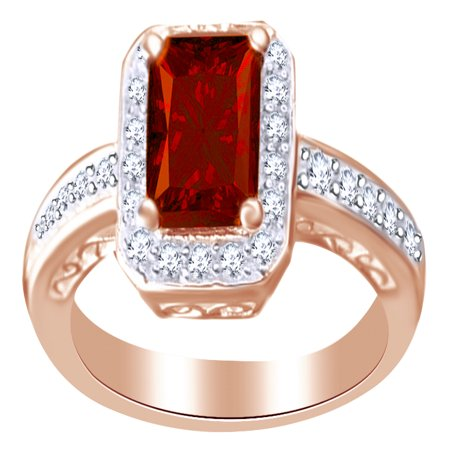 Emerald Shape Red Simulated Garnet & Round White Cubic Zirconia Engagement Ring in 14k Rose Gold Over Sterling Silver Ring Size - - Emerald Shape Ring