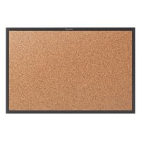 "Quartet Classic Cork Bulletin Board, 24"" x 18"", Black Aluminum Frame (2301B)"