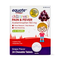 Equate Children's Acetaminophen Chewable Grape Tablets, 160 mg, 24 Ct