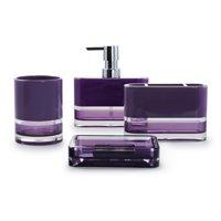 IMMANUEL Float Designer 4-Piece Elegant, Beautiful, Translucent Purple MS Acrylic Bathroom Accessory Set (includes Tumbler, Toothbrush Holder, Lotion Dispenser and Soap Dish)