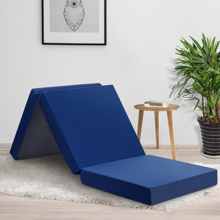 Memory Foam Thickness (GranRest 4'' Tri Folding Memory Foam Mattress, Blue)