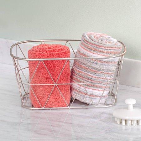 Better Homes & Gardens Small Bathroom Satin Wire Storage Basket, 1 -