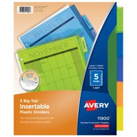 Avery Big Tab Insertable Plastic Dividers, Multi-color, 5 Count
