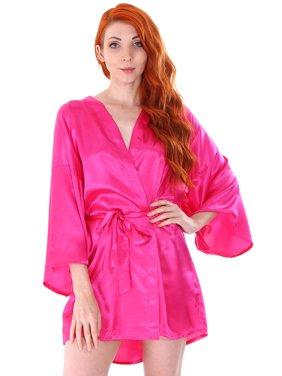 Product Image Women s Kimono Satin Wedding Robe Short Dressing Gown  Sleepwear Rose 63e53eceb