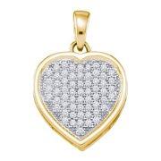 10K Yellow Gold 0.20ctw Fancy Sleek Fashion Pave Diamond Ladies Heart Pendant