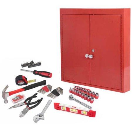 Hyper Tough 151-Piece Hand Tool Set, Metal Wall Cabinet