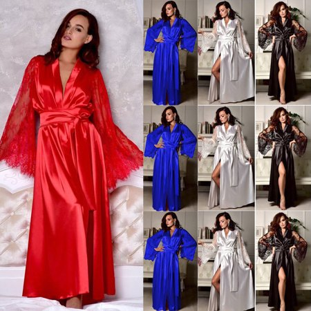 Womens Silk Satin Deep V Bathrobe Pajamas Robe Lingerie Sleepwear Nightwear - Renaissance Robes