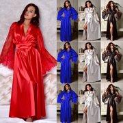 8cdae9f38dc5 Womens Silk Satin Deep V Bathrobe Pajamas Robe Lingerie Sleepwear Nightwear