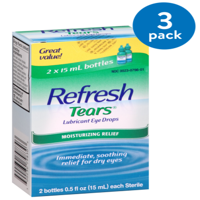 (2 Pack) Refresh Lubricant Eye Drops Value Size Refresh Tears, 2 - .5 Oz bottles, 1 Oz.