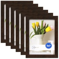 """Mainstays 5"""" x 7"""" Brown Linear Frame, Set of 6"""