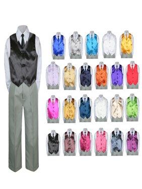 4PC Shirt Gray Pants Vest & Necktie Set Baby Boy Toddler Kid Formal Suit Sm-7