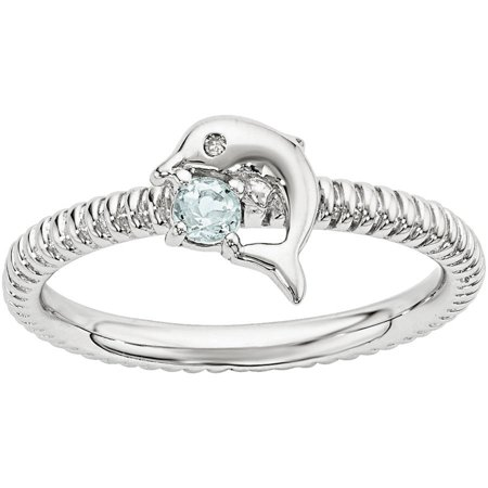 Aquamarine and Diamond Sterling Silver Dolphin Ring