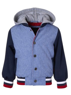 Product Image Fleece Hooded Chambray Varsity Jacket with Sweatshirt Sleeves (Baby Boys \u0026 Toddler Boys) Coats Jackets - Walmart.com