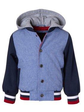 Product Image Fleece Hooded Chambray Varsity Jacket with Sweatshirt Sleeves (Baby Boys \u0026 Toddler Boys) Coats Jackets - Walmart.com