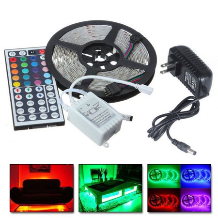 Led Strip - 5M RGB 5050 Water-Resistant LED Strip Lights SMD with 44 Key Remote & 12V Power supply,Color Changing Flexible Light Strip