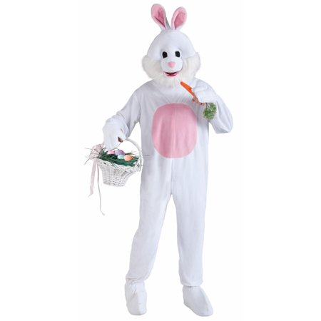 Deluxe Adult Easter Bunny Mascot Costume (Superhero White Costume)