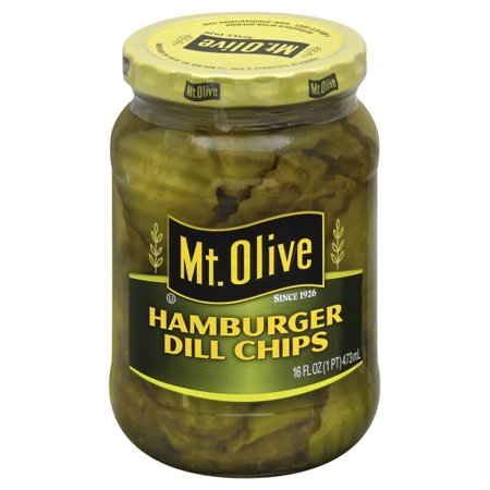 (3 Pack) Mt. Olive Hamburger Dill Chips Pickles 16 fl. oz. Jar ()