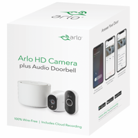 Arlo 720P HD Security Camera System with Audio Doorbell VMK3150 - 1 Wire-Free Battery Camera with Indoor/Outdoor, Night Vision, Motion Detection